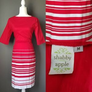 SHABBY APPLE Red and White 3/4 Sleeve dress Pinup